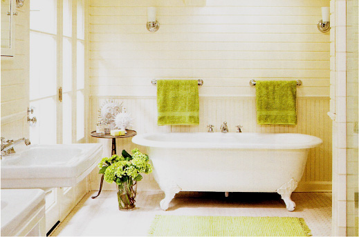 White, traditional bathroom with claw-foot tub and wainscotting.